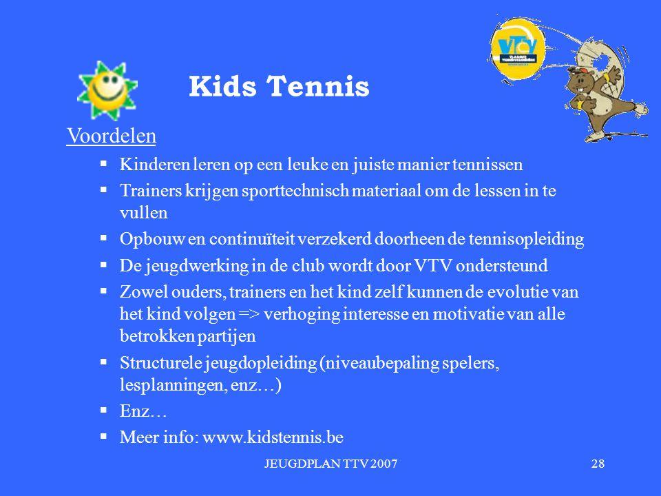 Kids Tennis Voordelen. Kinderen leren op een leuke en juiste manier tennissen. Trainers krijgen sporttechnisch materiaal om de lessen in te vullen.