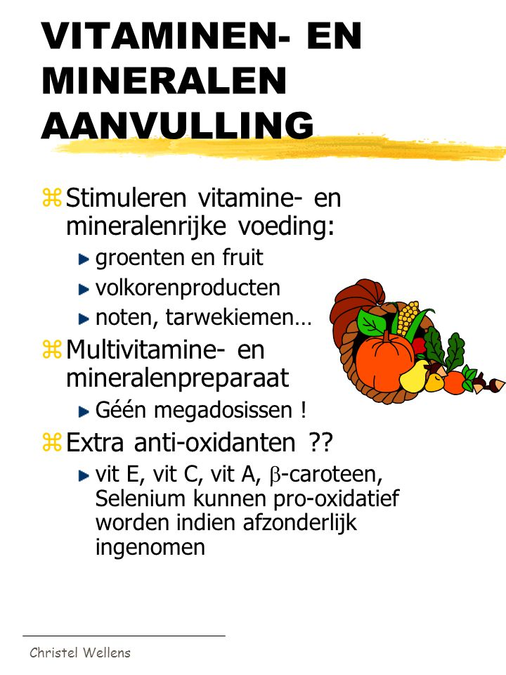VITAMINEN- EN MINERALEN AANVULLING