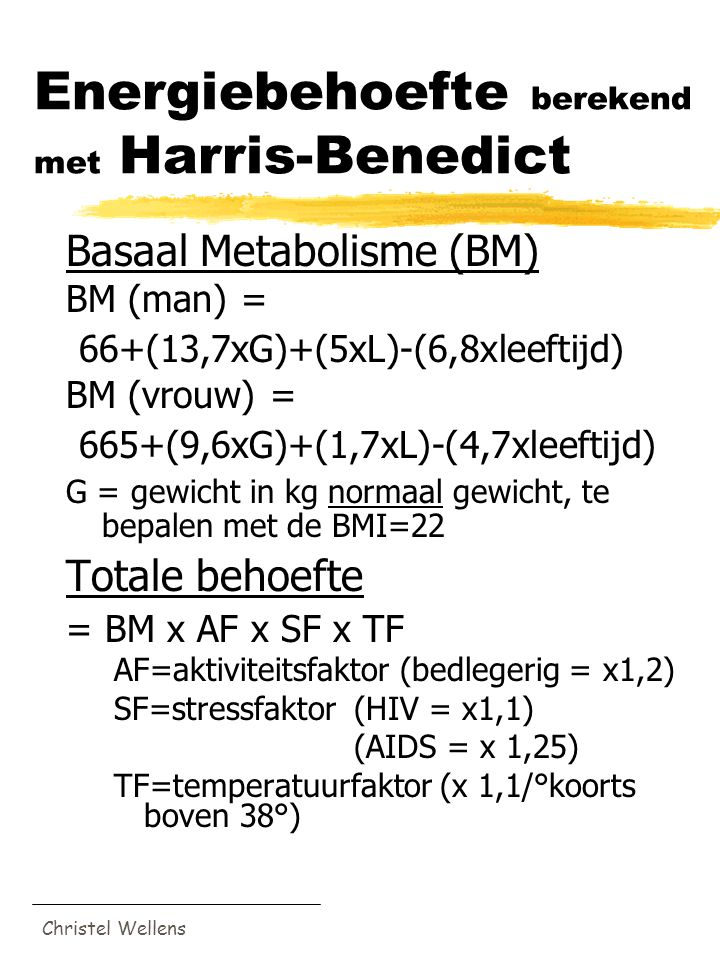 Energiebehoefte berekend met Harris-Benedict
