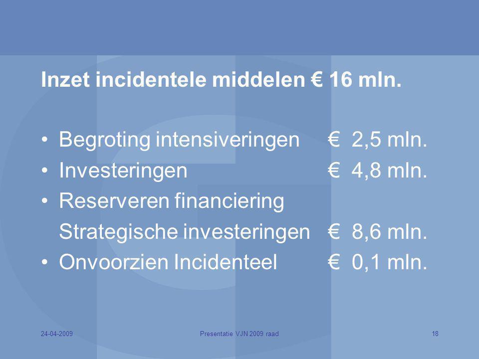 Inzet incidentele middelen € 16 mln.