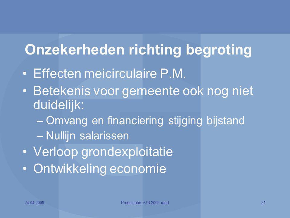 Onzekerheden richting begroting