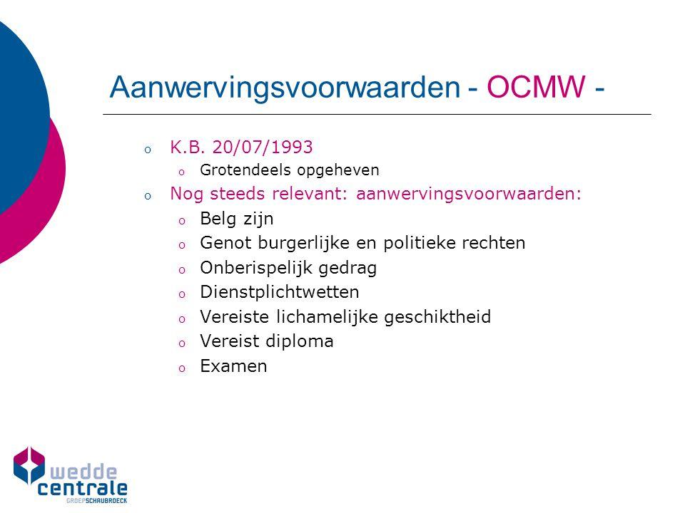 Aanwervingsvoorwaarden - OCMW -