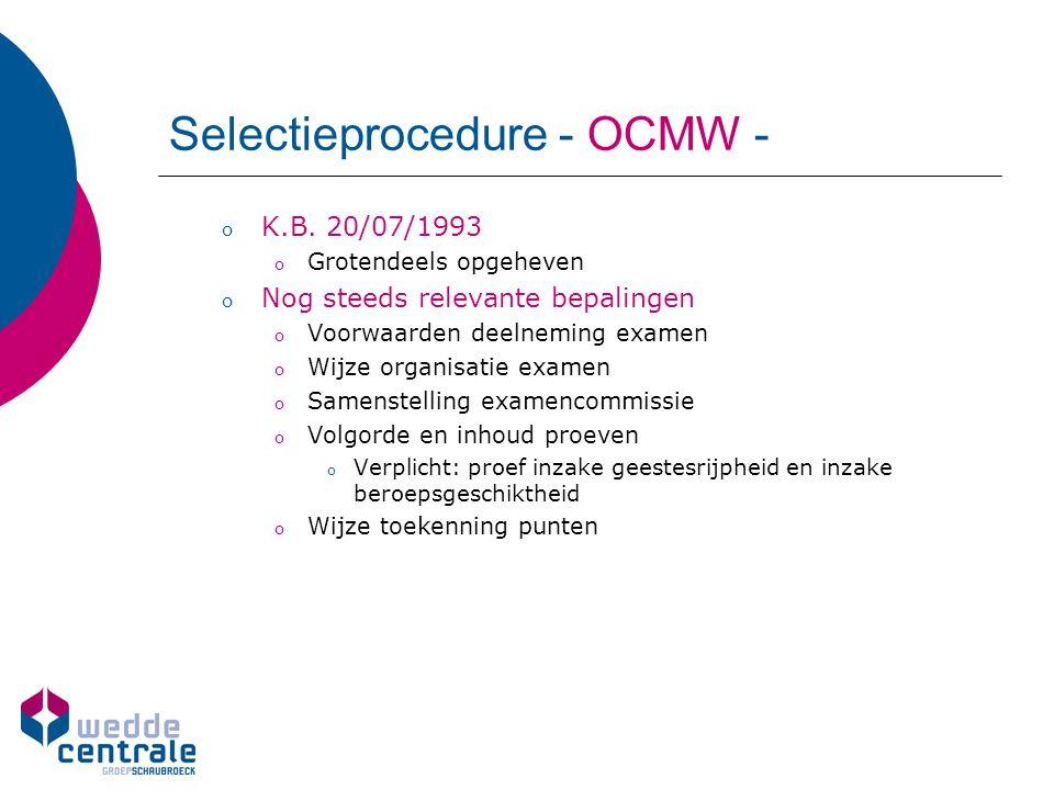 Selectieprocedure - OCMW -