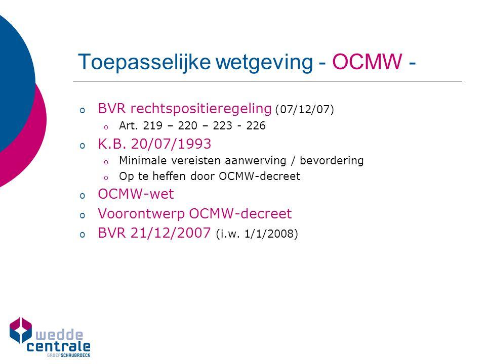 Toepasselijke wetgeving - OCMW -
