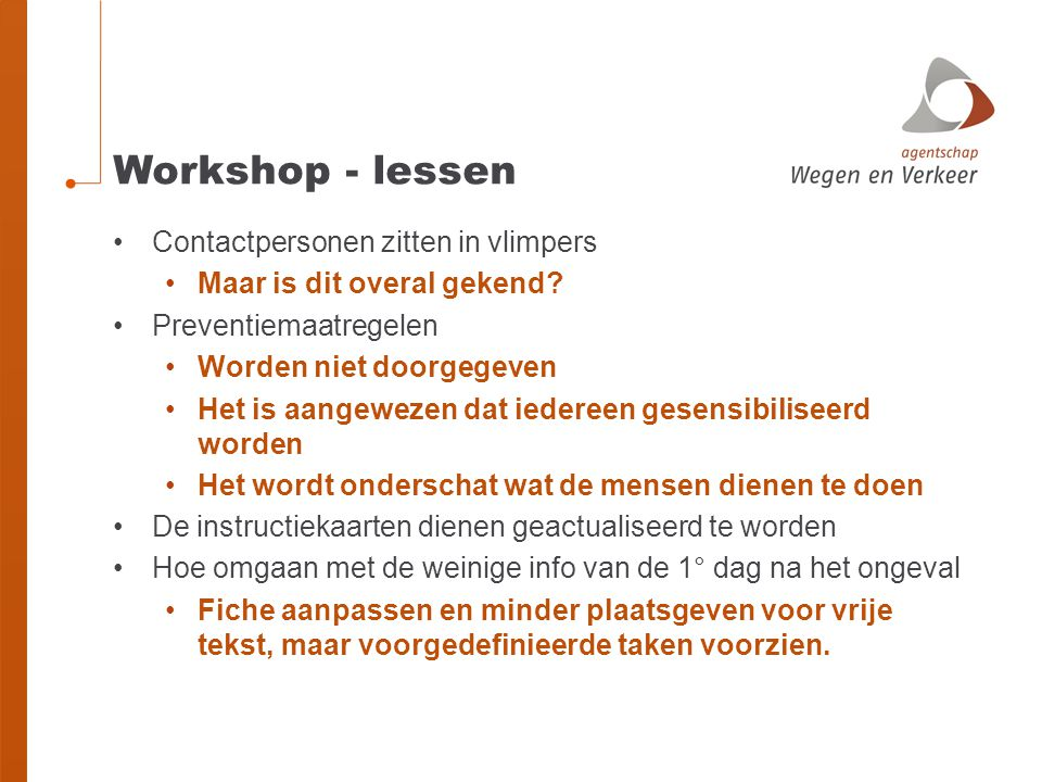 Workshop - lessen Contactpersonen zitten in vlimpers