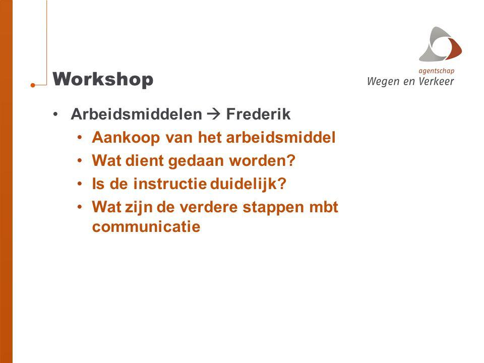 Workshop Arbeidsmiddelen  Frederik Aankoop van het arbeidsmiddel