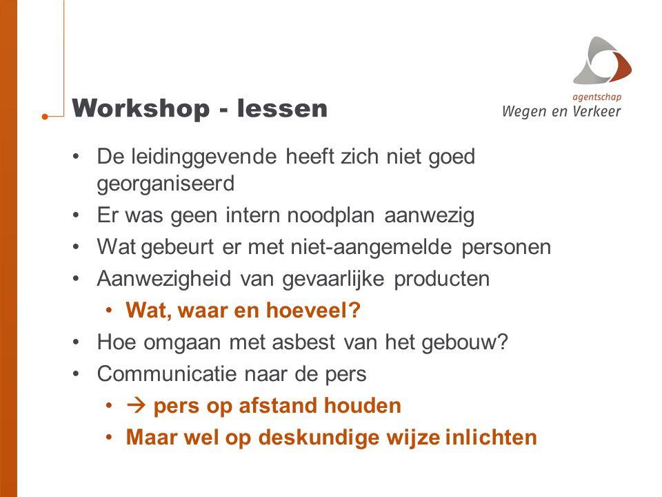 Workshop - lessen De leidinggevende heeft zich niet goed georganiseerd