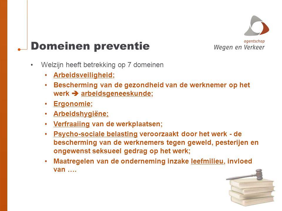 Domeinen preventie Welzijn heeft betrekking op 7 domeinen