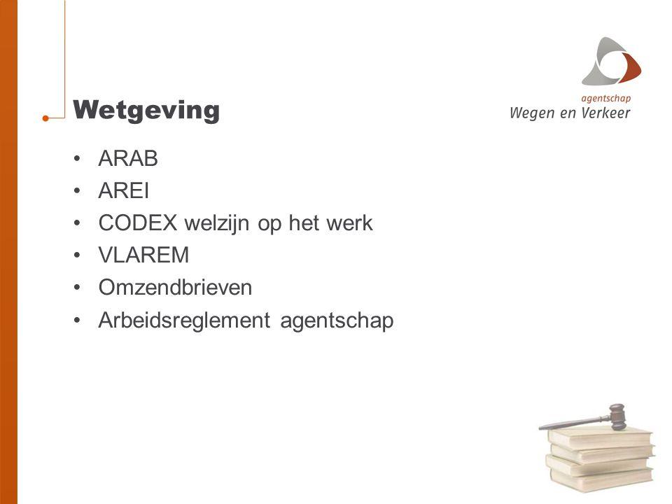 Wetgeving ARAB AREI CODEX welzijn op het werk VLAREM Omzendbrieven