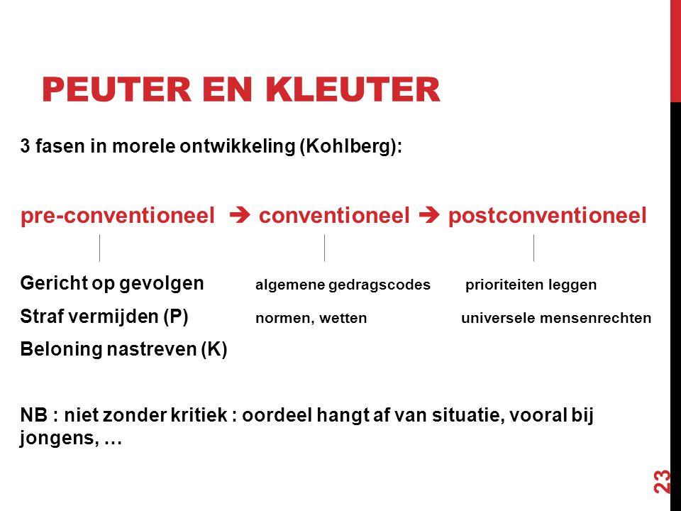 Peuter en kleuter 3 fasen in morele ontwikkeling (Kohlberg): pre-conventioneel  conventioneel  postconventioneel.