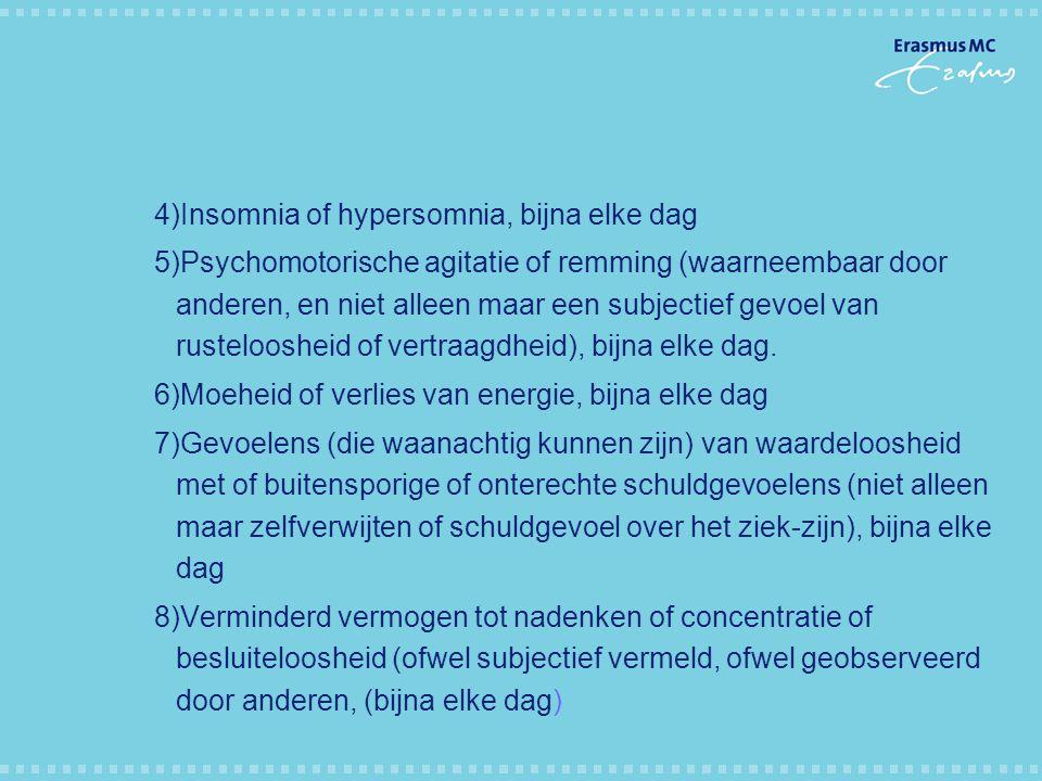 4)Insomnia of hypersomnia, bijna elke dag