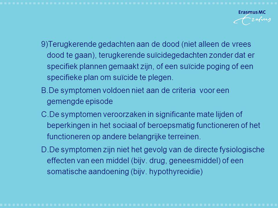 9)Terugkerende gedachten aan de dood (niet alleen de vrees dood te gaan), terugkerende suïcidegedachten zonder dat er specifiek plannen gemaakt zijn, of een suïcide poging of een specifieke plan om suïcide te plegen.