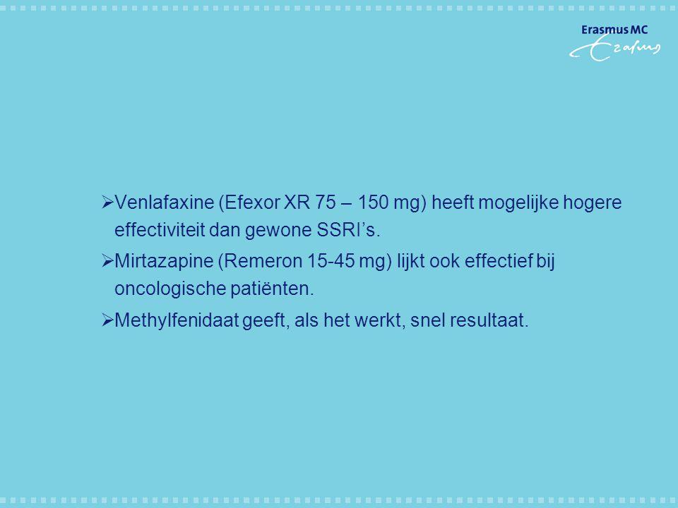 Venlafaxine (Efexor XR 75 – 150 mg) heeft mogelijke hogere effectiviteit dan gewone SSRI's.