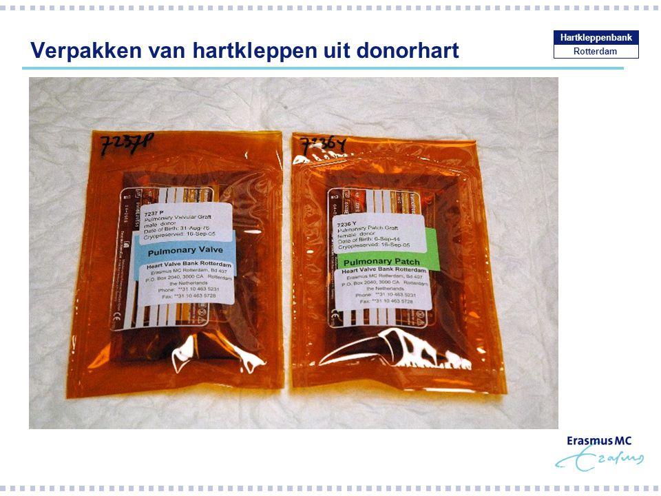 Verpakken van hartkleppen uit donorhart
