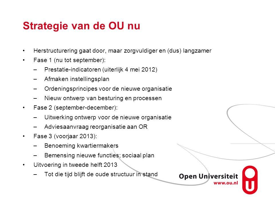 Strategie van de OU nu Herstructurering gaat door, maar zorgvuldiger en (dus) langzamer. Fase 1 (nu tot september):