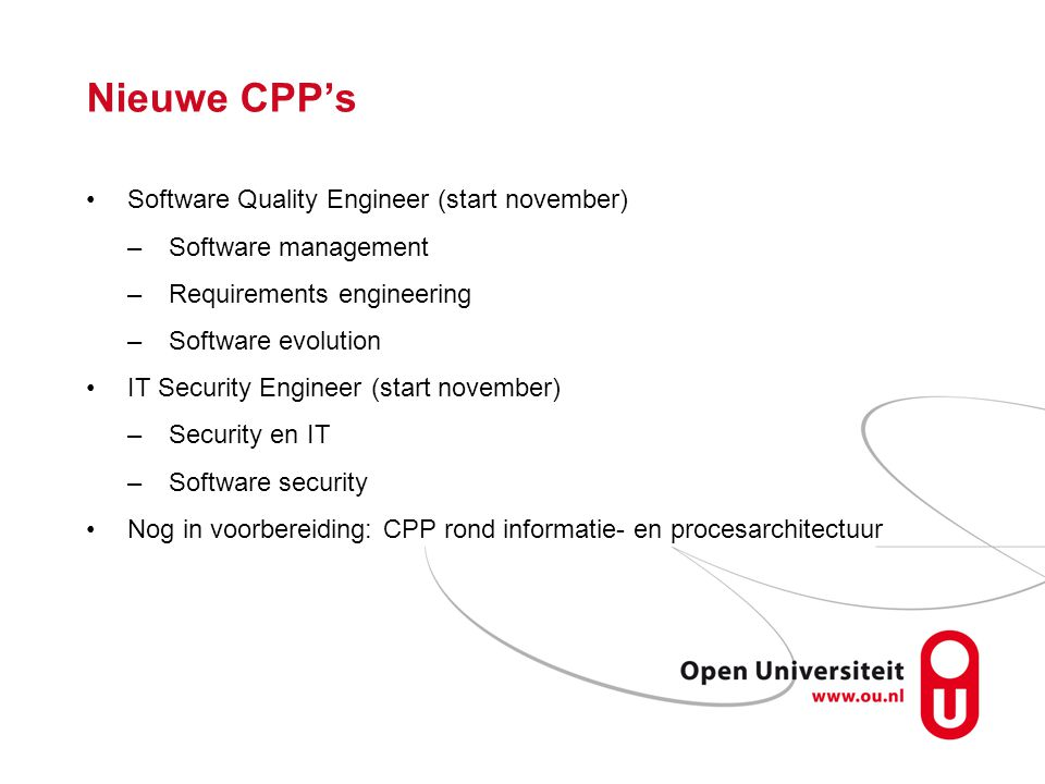 Nieuwe CPP's Software Quality Engineer (start november)