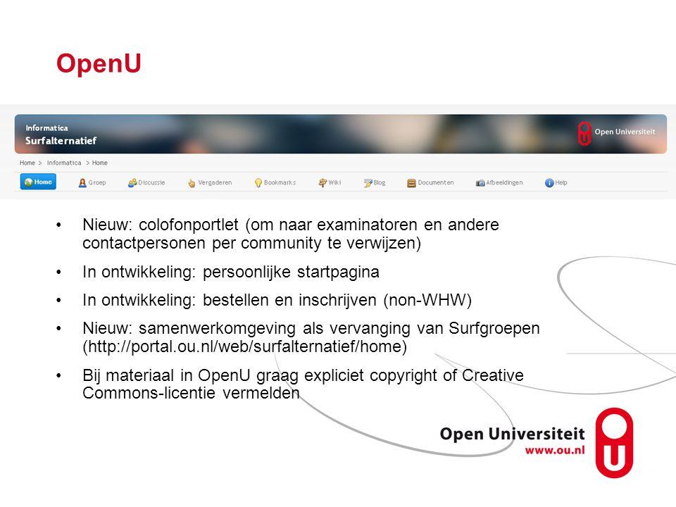 OpenU Nieuw: colofonportlet (om naar examinatoren en andere contactpersonen per community te verwijzen)