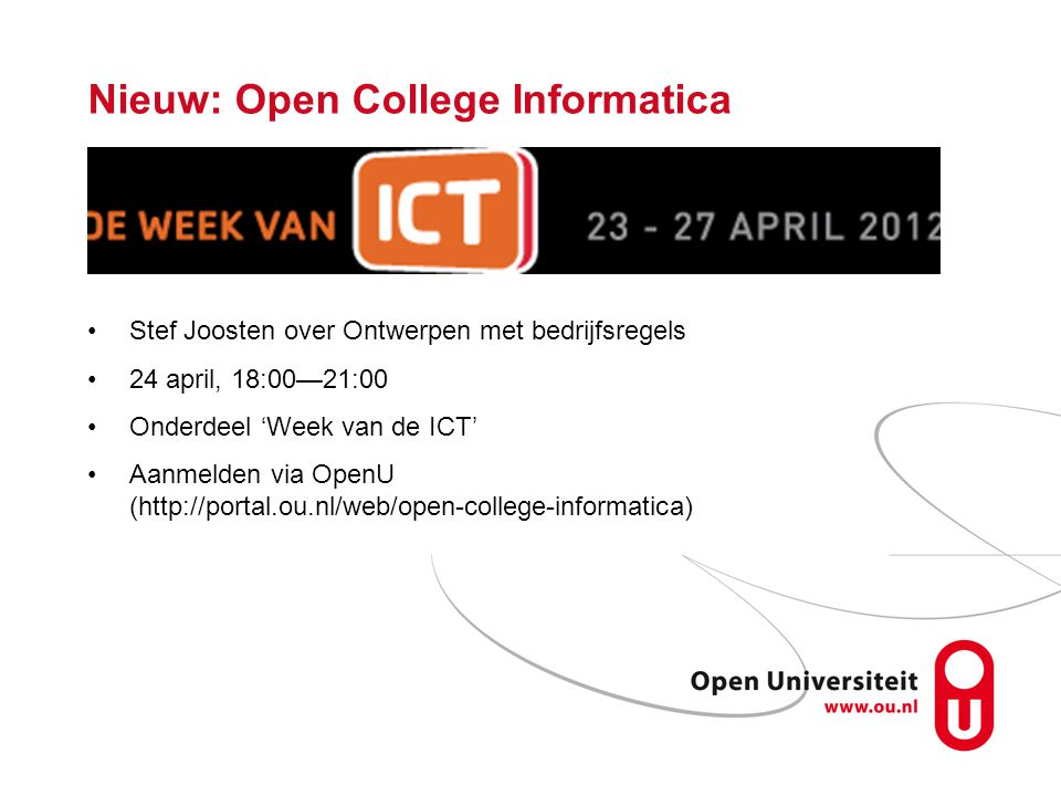 Nieuw: Open College Informatica