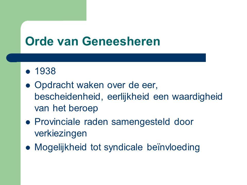 Orde van Geneesheren 1938. Opdracht waken over de eer, bescheidenheid, eerlijkheid een waardigheid van het beroep.