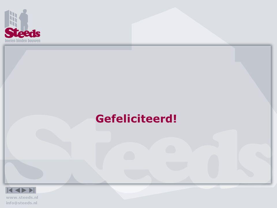 Gefeliciteerd! www.steeds.nl info@steeds.nl