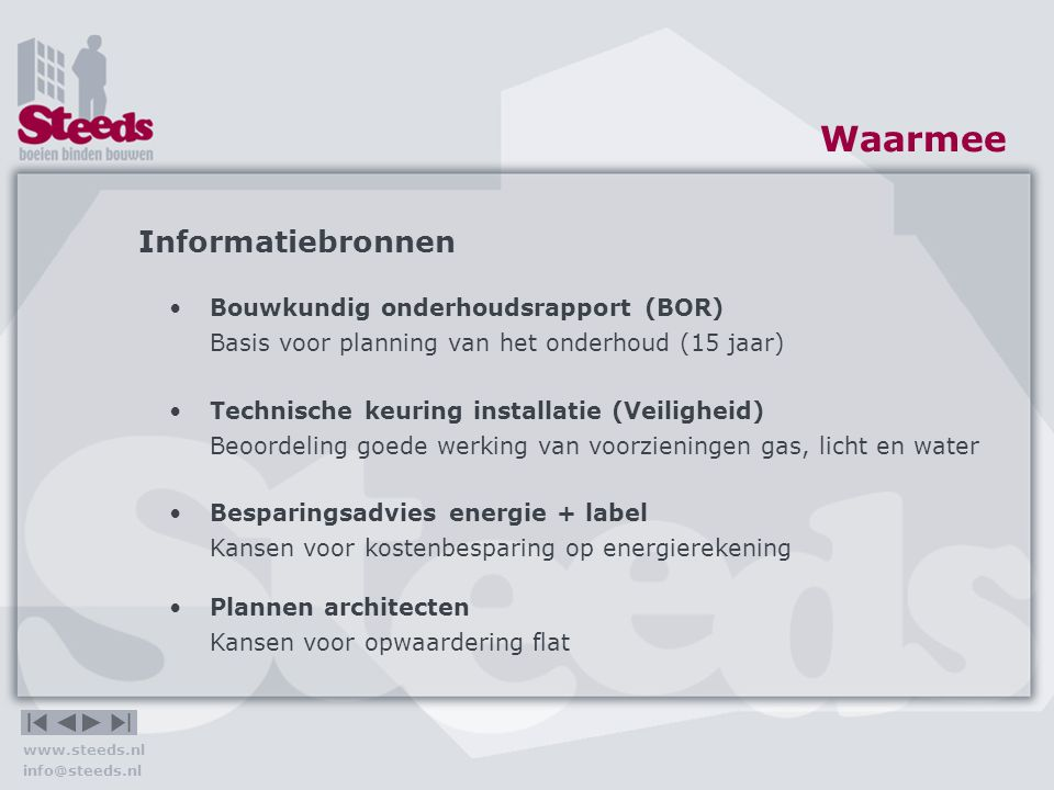 Waarmee Informatiebronnen Bouwkundig onderhoudsrapport (BOR)
