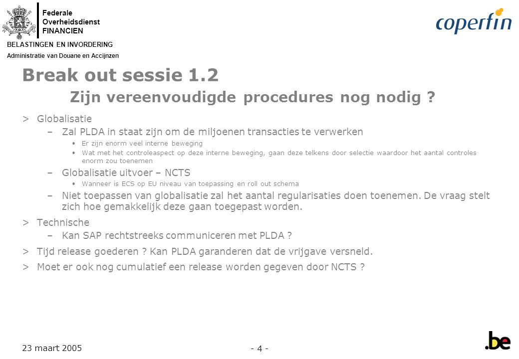 Break out sessie 1.2 Zijn vereenvoudigde procedures nog nodig