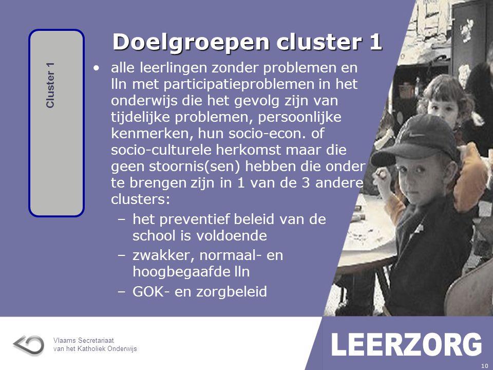Doelgroepen cluster 1