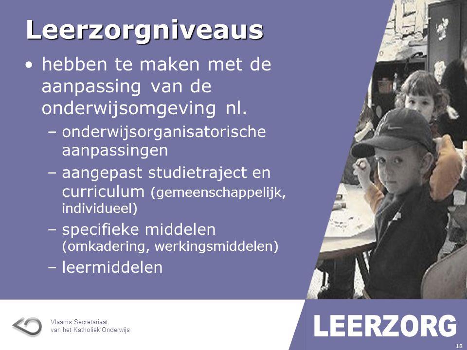 Leerzorgniveaus hebben te maken met de aanpassing van de onderwijsomgeving nl. onderwijsorganisatorische aanpassingen.