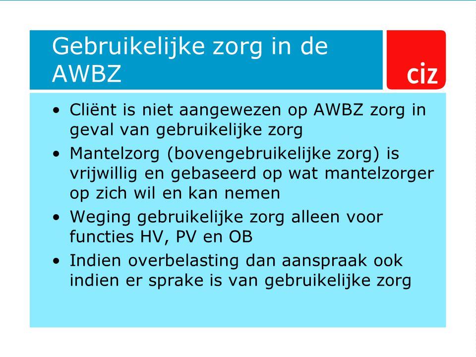 Gebruikelijke zorg in de AWBZ