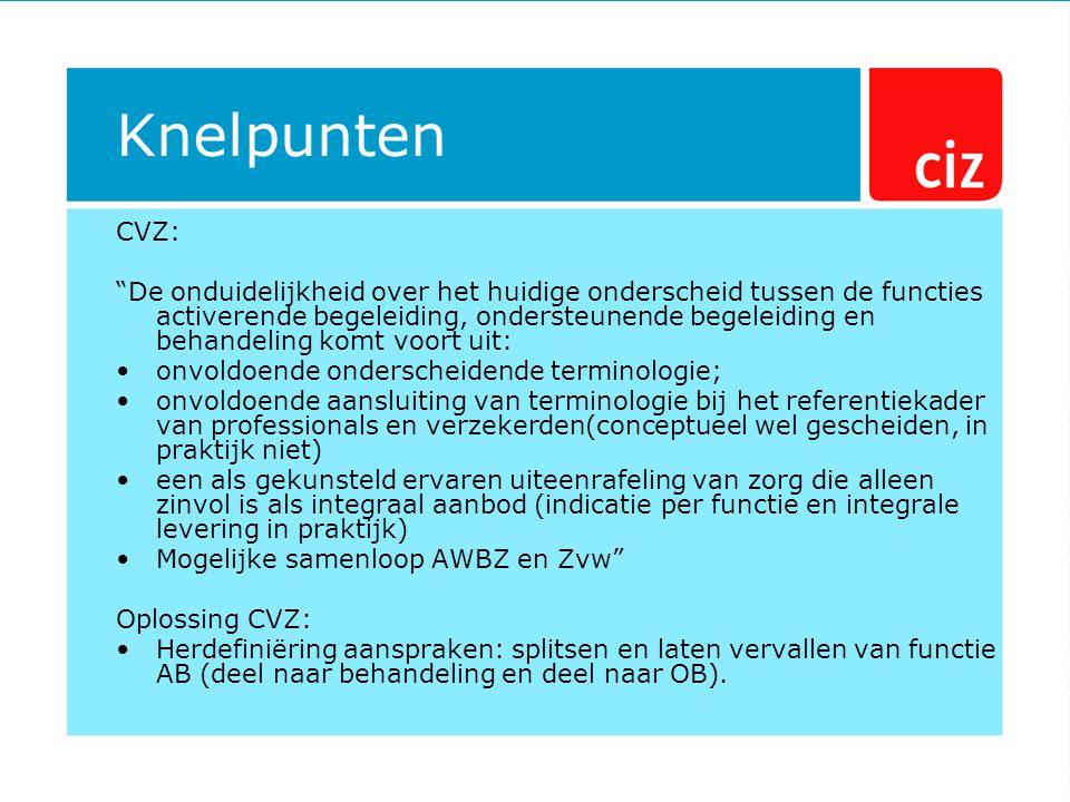 Knelpunten CVZ: