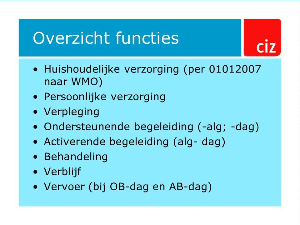 Overzicht functies Huishoudelijke verzorging (per 01012007 naar WMO)