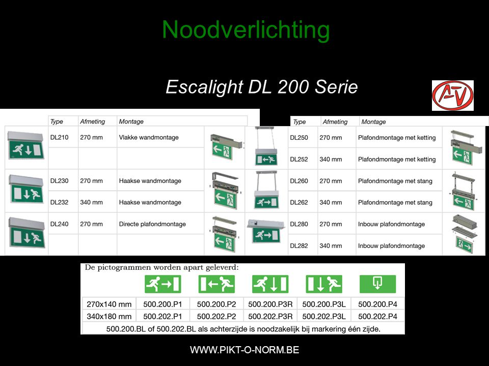 Noodverlichting Escalight DL 200 Serie WWW.PIKT-O-NORM.BE
