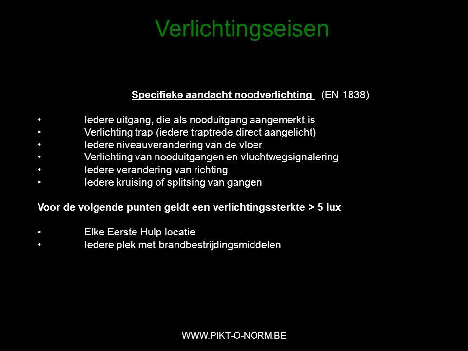 Specifieke aandacht noodverlichting (EN 1838)
