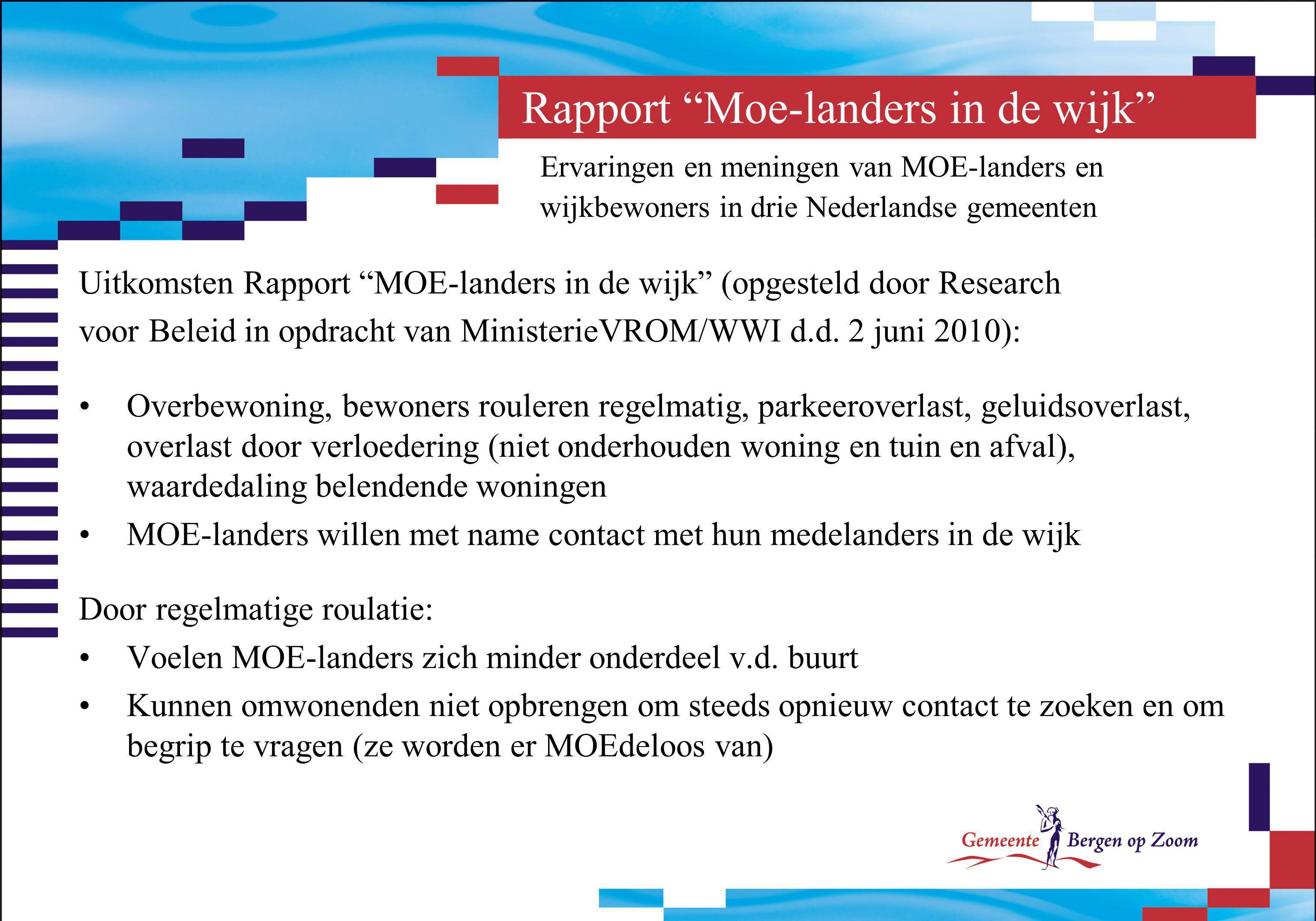 Rapport Moe-landers in de wijk Ervaringen en meningen van MOE-landers en wijkbewoners in drie Nederlandse gemeenten