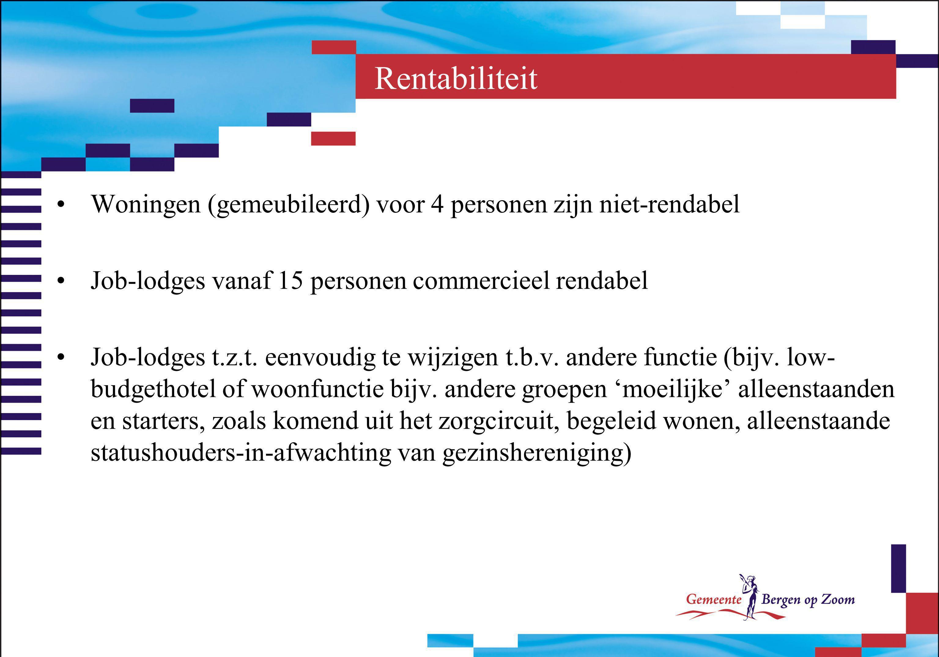 Rentabiliteit Woningen (gemeubileerd) voor 4 personen zijn niet-rendabel. Job-lodges vanaf 15 personen commercieel rendabel.