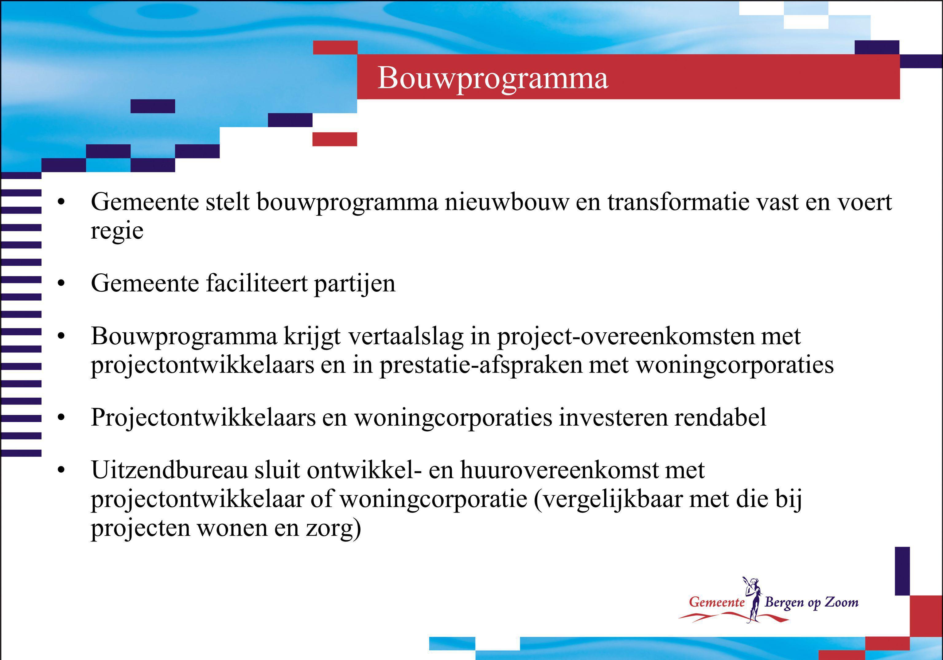 Bouwprogramma Gemeente stelt bouwprogramma nieuwbouw en transformatie vast en voert regie. Gemeente faciliteert partijen.
