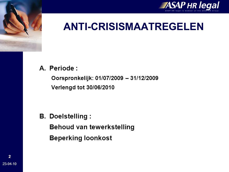ANTI-CRISISMAATREGELEN