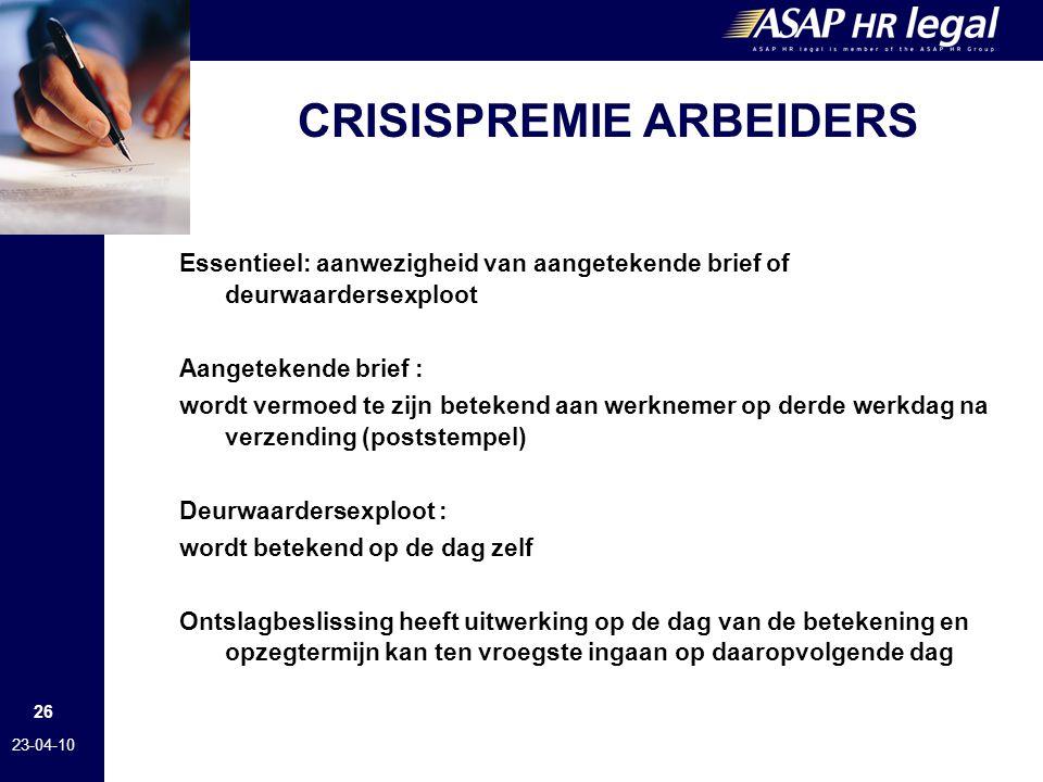 CRISISPREMIE ARBEIDERS