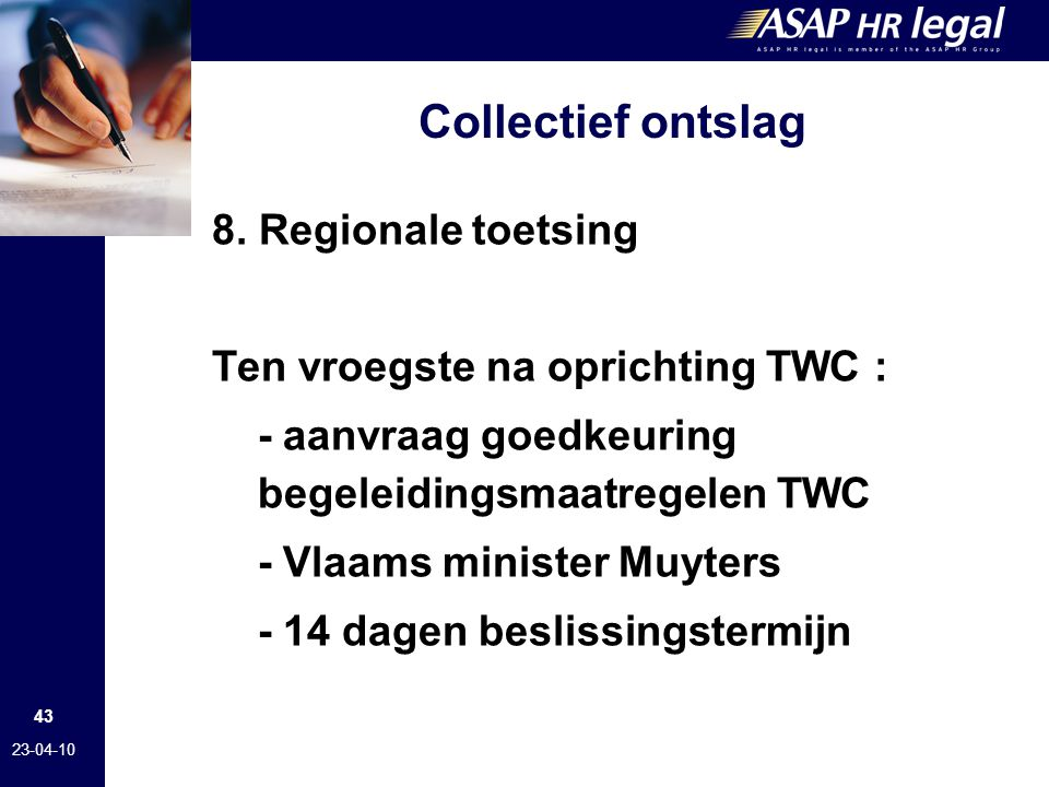 Collectief ontslag 8. Regionale toetsing