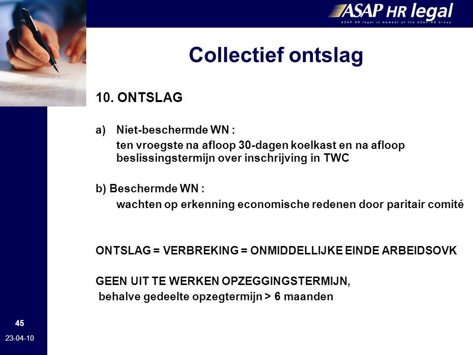 Collectief ontslag 10. ONTSLAG Niet-beschermde WN :