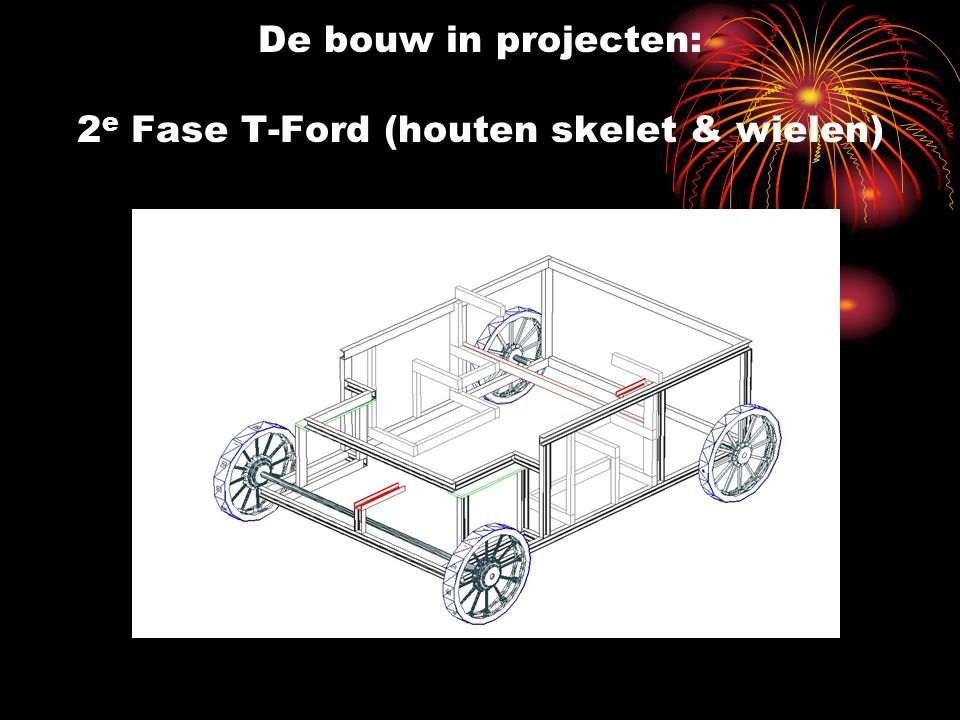 De bouw in projecten: 2e Fase T-Ford (houten skelet & wielen)