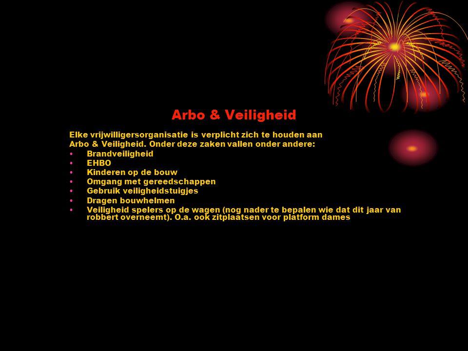 Arbo & Veiligheid Elke vrijwilligersorganisatie is verplicht zich te houden aan. Arbo & Veiligheid. Onder deze zaken vallen onder andere: