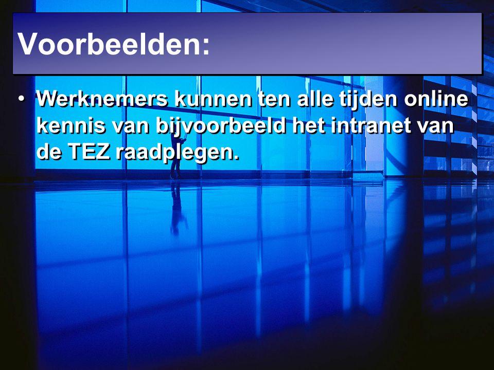 Voorbeelden: Werknemers kunnen ten alle tijden online kennis van bijvoorbeeld het intranet van de TEZ raadplegen.