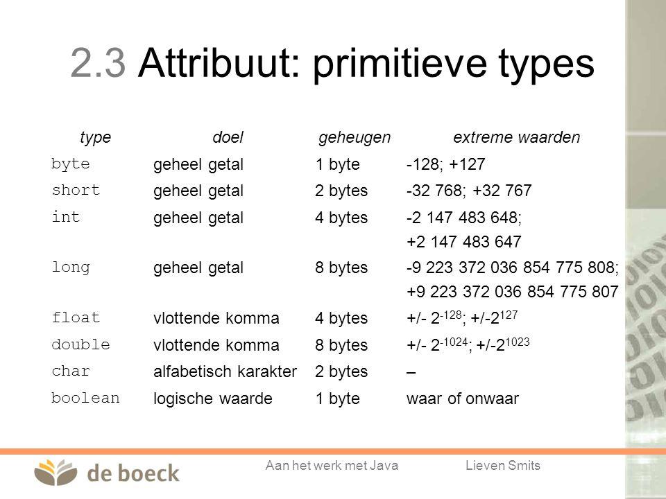 2.3 Attribuut: primitieve types