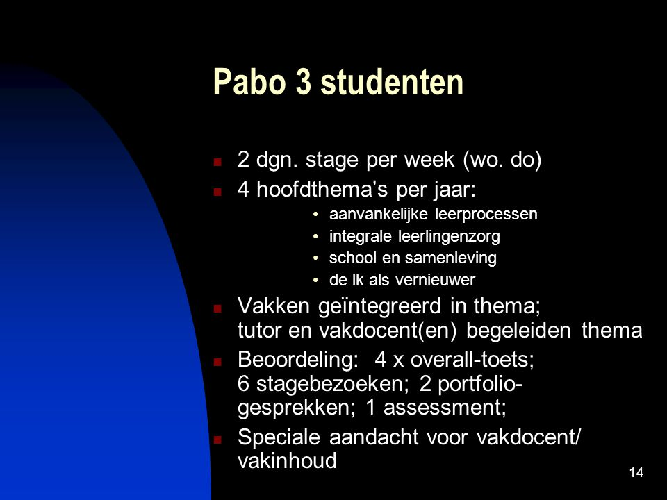 Pabo 3 studenten 2 dgn. stage per week (wo. do)