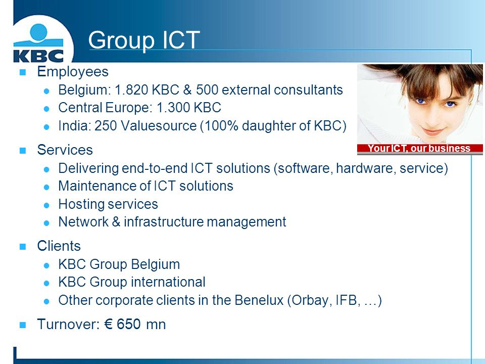Group ICT Employees Services Clients Turnover: € 650 mn