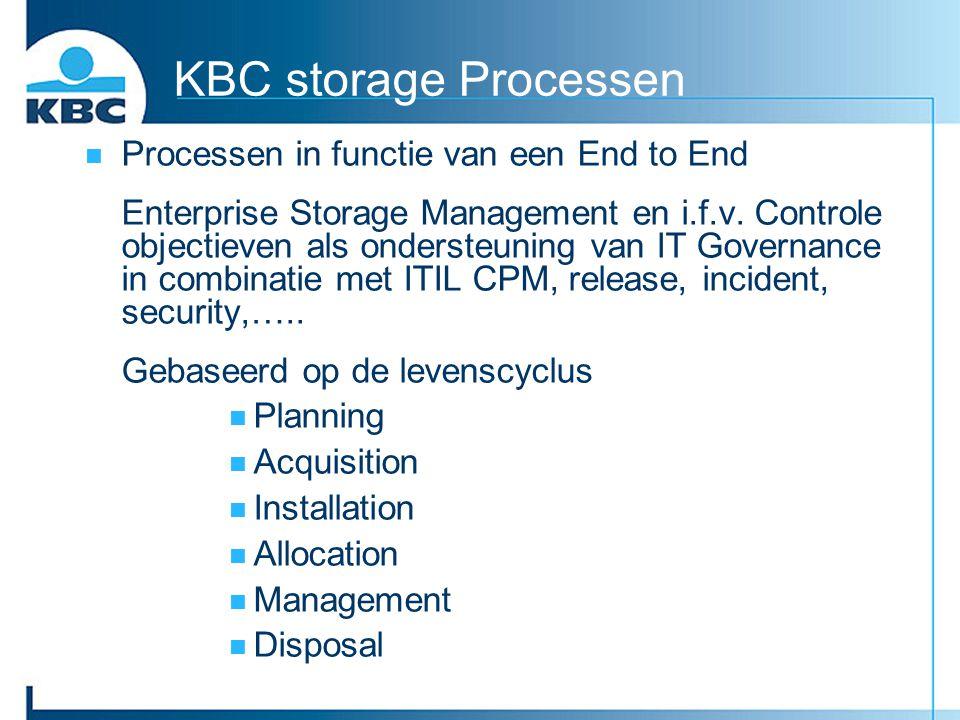 KBC storage Processen Processen in functie van een End to End