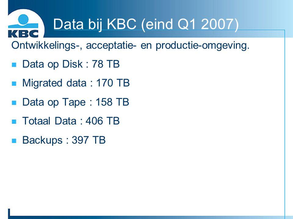 Data bij KBC (eind Q1 2007) Ontwikkelings-, acceptatie- en productie-omgeving. Data op Disk : 78 TB.