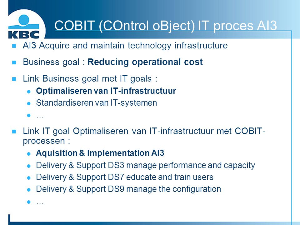 COBIT (COntrol oBject) IT proces AI3