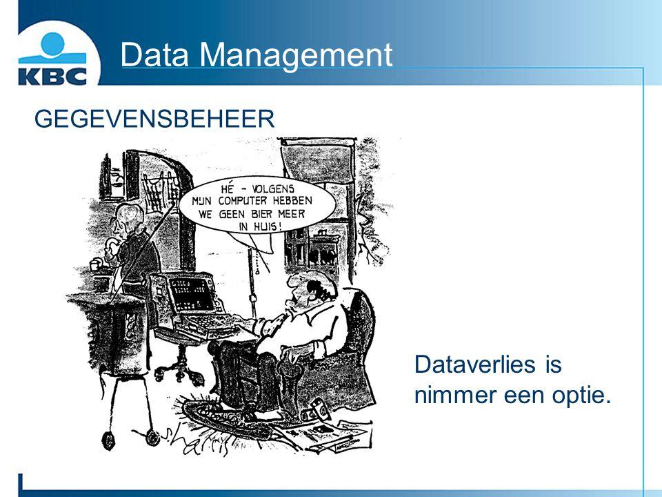 Data Management GEGEVENSBEHEER Dataverlies is nimmer een optie.